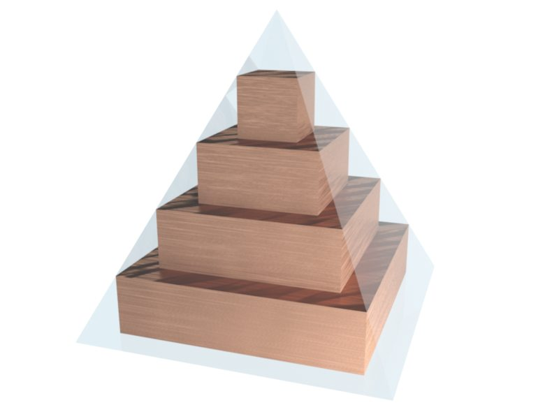 Bricks with squared surface forming a pyramid